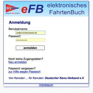 Anmeldemaske eFB